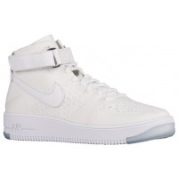 Nike Air Force 1 Ultra Flyknit Mid Hommes baskets blanc/blanc CAQ198