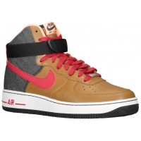 Nike Air Force 1 High Leather Hommes baskets marron/rouge SMK192