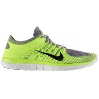 Nike Free 4.0 Flyknit Hommes chaussures de sport gris/vert clair SLJ040
