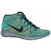 Nike Free Flyknit Chukka Hommes chaussures vert clair/bleu marin WUH298
