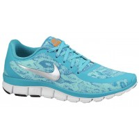 Nike Free 5.0 V4 Femmes chaussures bleu clair/argenté MXS144