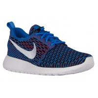 Nike Roshe One Flyknit Femmes chaussures de course bleu/blanc AUF365