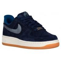 Nike Air Force 1 '07 Low Premium SuedeFemmes chaussures bleu marin/argenté RVF562