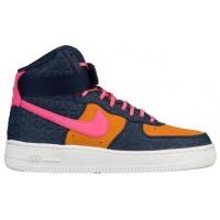 Nike Air Force 1 High Premium Suede Femmes chaussures de sport bleu marin/rose UNY469