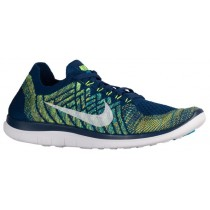 Nike Free 4.0 Flyknit 2015 Hommes chaussures bleu marin/vert clair INE348