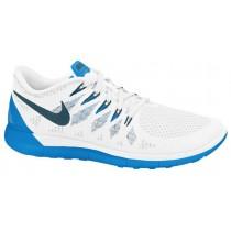 Nike Free 5.0 Hommes chaussures de sport blanc/bleu clair VZZ696