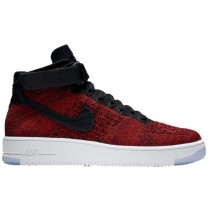 Nike Air Force 1 Ultra Flyknit Mid Hommes chaussures rouge/noir JBM773