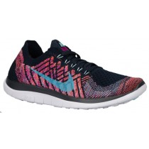 Nike Free 4.0 Flyknit Femmes chaussures bleu marin/violet NEY388