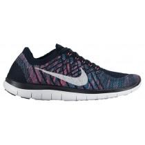 Nike Free 4.0 Flyknit Femmes sneakers bleu marin/blanc NOL358