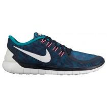 Nike Free 5.0 2015 Femmes chaussures de course bleu marin/blanc WBW945