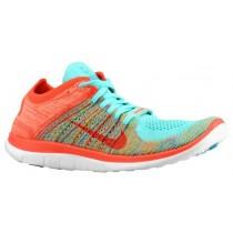 Nike Free 4.0 Flyknit Femmes chaussures de course Orange/bleu clair RDX880