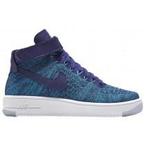 Nike Air Force 1 Hi Flyknit Femmes chaussures de sport bleu/violet OOJ721