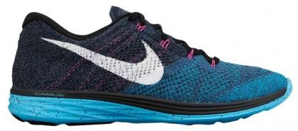 Nike Flyknit Lunar 3 Femmes chaussures de course bleu marin/bleu clair CAM837