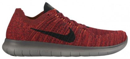 Nike Free RN Flyknit Hommes chaussures de sport rouge/gris FXT962