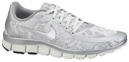 Nike Free 5.0 V4 Femmes chaussures de course argenté/blanc JXT086