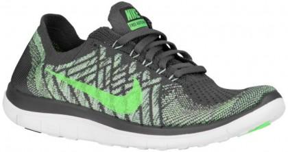 Nike Free 4.0 Flyknit Femmes chaussures de course gris/vert clair SYR909