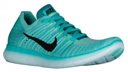 Nike Free RN Flyknit Femmes chaussures de course vert clair/noir QHN686