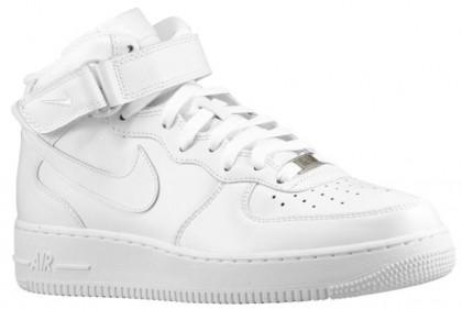 Nike Air Force 1 Mid Hommes baskets Tout blanc/blanc ECM335